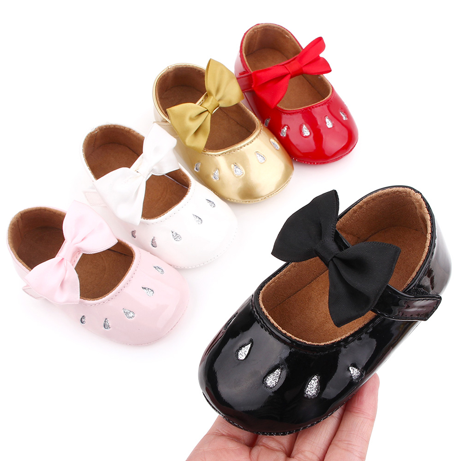 0-12Months New Cute Baby Girl Princess Shoes PU Leather Bowknot Flats Non-Slip Soft Sole First Walkers Shiny Leather All Seasons