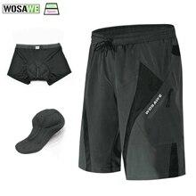 цена на WOSAWE Men's Cycling Shorts Outdoor Sports Loose-Fit 3D gel Padded Underwear Bike Bicycle Lightweight Downhill  MTB Shorts