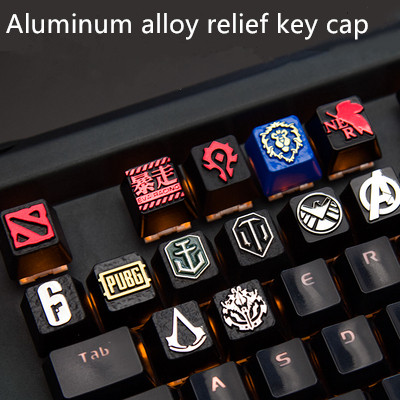 1pc Aluminium Alloy Relief Key Cap For MX Switches Mechanical Keyboard Metal Key Cap For PUBG WOW Dota 2 Marvel OverLord