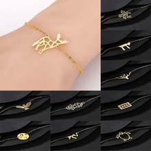 QIAMNI Animal Unicorn Antler Turtle Eagle Bird Bambi Deer Chain Bracelets Bangle Party Jewelry Couple Birthday Gifts Pulsera(China)