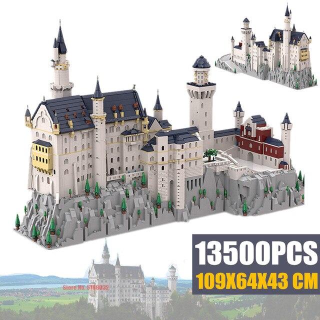 جديد 13500 قطعة حجر البجعة الألماني NeuSchwanstein نموذج قلعة لعب الأطفال فكرة Streetview اللبنات الطوب خبير الخالق هدية