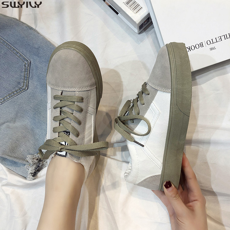 SWYIVY Canvas Shoes Women Sneakers Lace Up Flat Woman Casual Shoes Spring 2020 New Striped Sneakers For Women Shoe Ladies FlatWomens Vulcanize Shoes   -