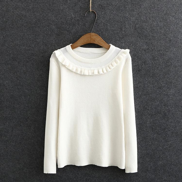 Купить женский свитер с оборками и круглым вырезом однотонные пуловеры