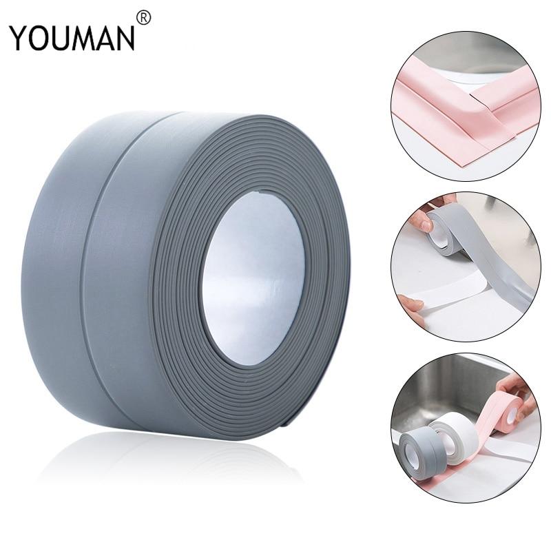 Wallpapers 3D Wallpaper Border for Bathroom Bathtub Kitchen PVC Wall Sticker Sealant Tape Mildew resistant waterproof Wall paper