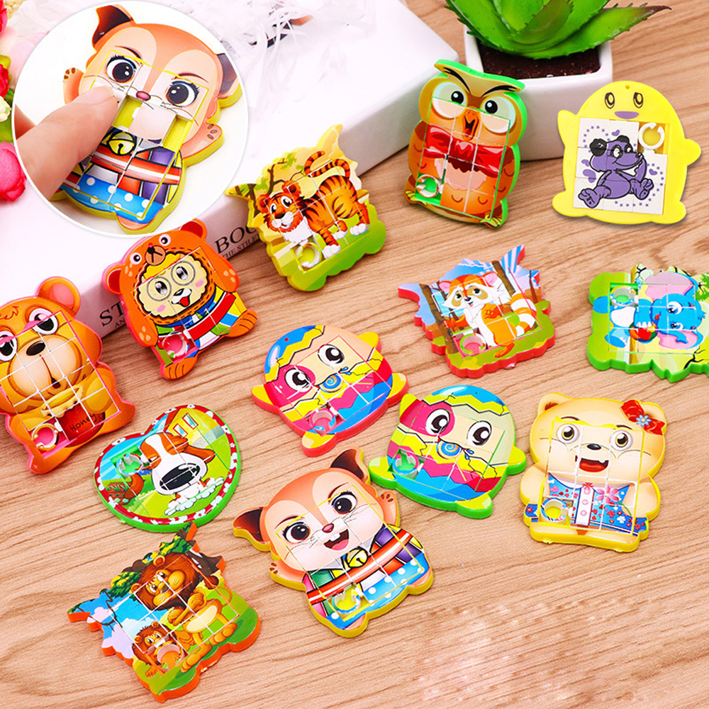 Mini Move Puzzle Toys Birthday Party Favors Gift For Kids Cartoon Puzzles Educational Toys For Children Girl Boy School Rewards
