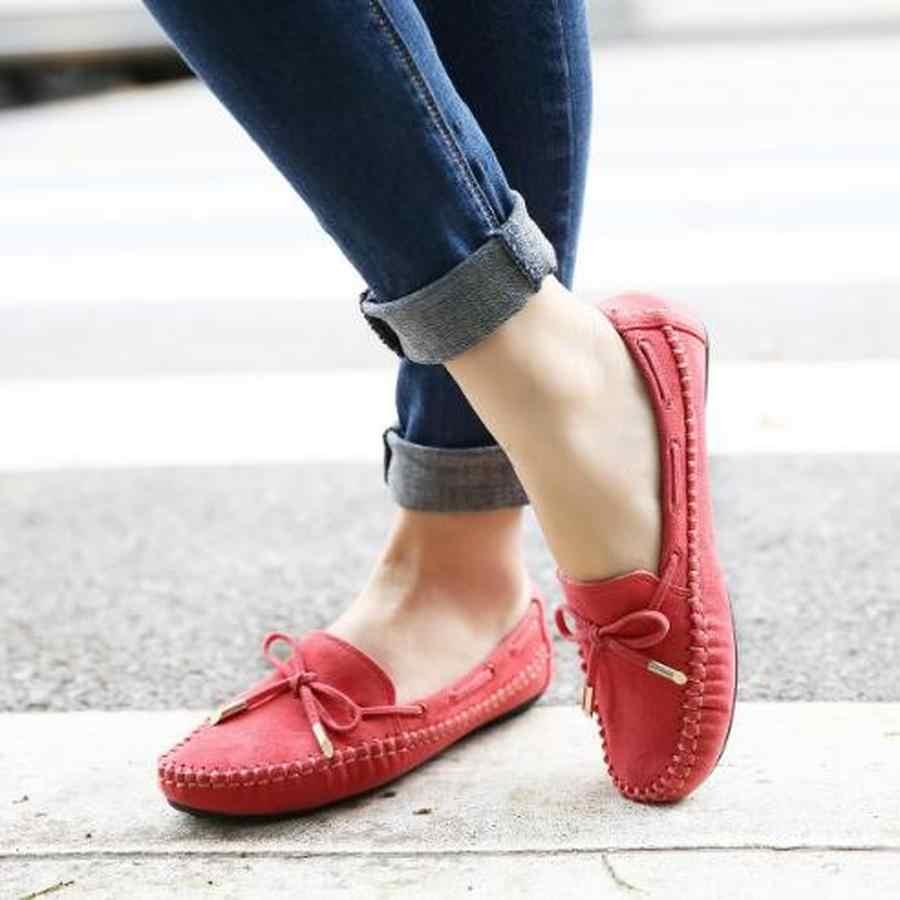 Zapatos de cuero de las mujeres de los planos del ocio de Dwayne mocasines de la madre Casual moño-Nudo zapatos de Ballet de conducción femenina 2020