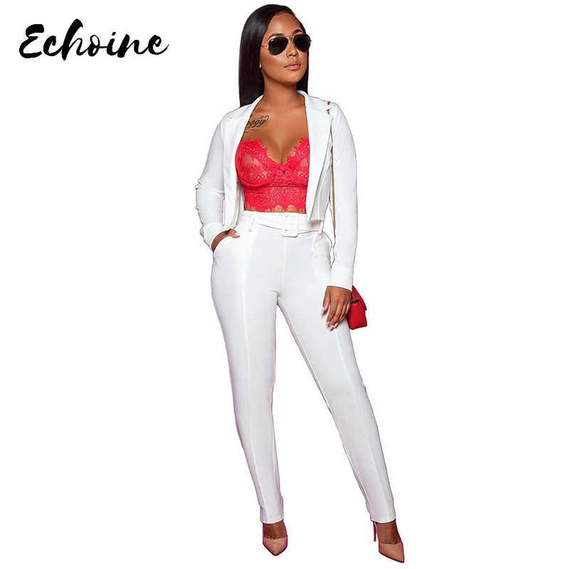 Echoine 白長袖ブレザーコートロングスキニーパンツ 2 枚スーツ秋の女性のプラスサイズ XXL ファッション衣装