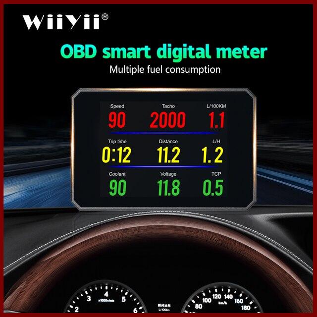 GEYIREN P16 head up display hud obd2 temperatur auto KM/h MPH Turbo Boost Druck geschwindigkeit projektor auf die windschutzscheibe für auto HUD