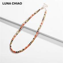 LUNA CHIAO Fashion Jewelry Rainbow Beaded Strand Necklace Double Layered Necklaces for Women(China)