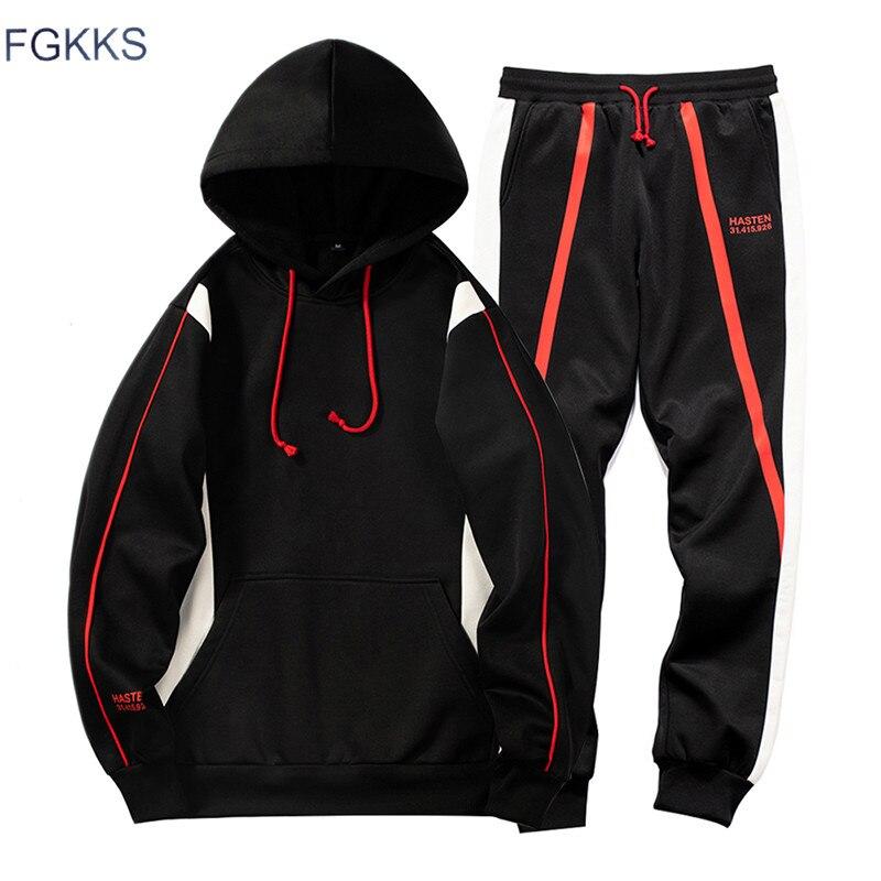 FGKKS Men's Casual Sets Sweatshirts Pullover Men Two Piece Hoodies+Pants Tracksuit Autumn Winter Sets Male Brand Clothing