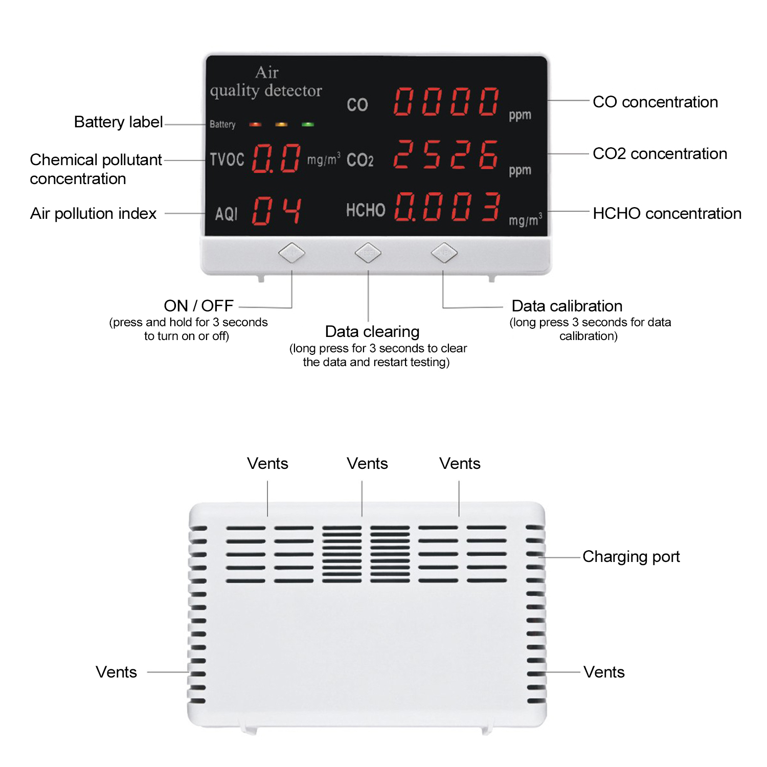 Tools : Digital Indoor Outdoor CO HCHO TVOC Tester CO2 Meter Air Quality Monitor Detector Multifunctional Household Gas Analyzer