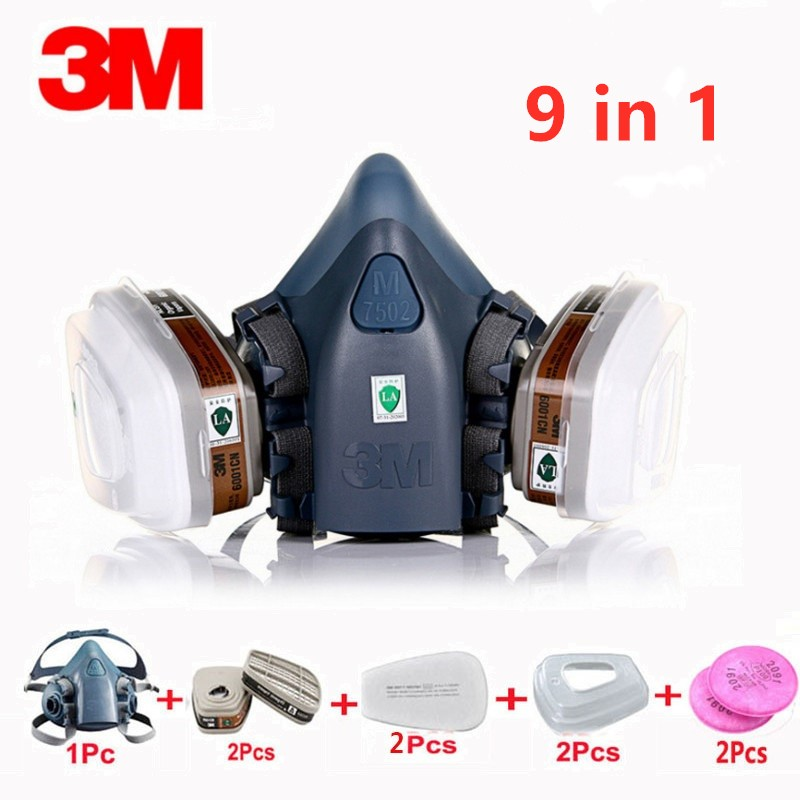 9 In 1 3M 7502 6001 Gas Mask Military Poison Respirator Half Face Widely Use Mask Chemical Paint Spray Pesticide Protection