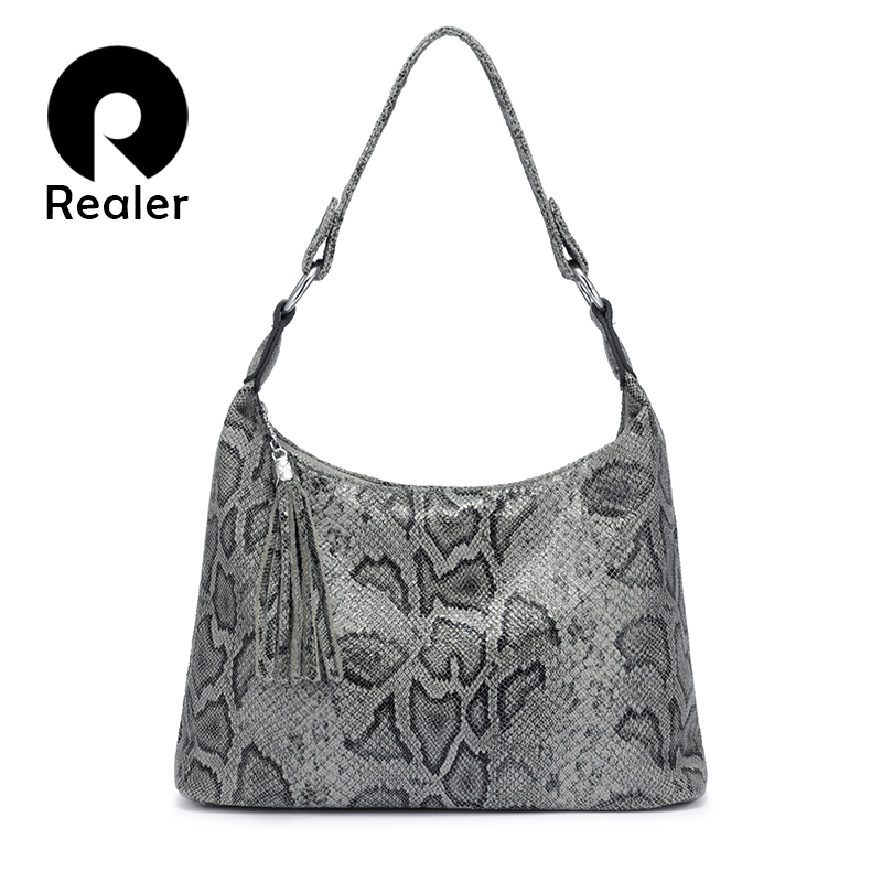 REALER Shoulder Bags For Women 2019 Luxury Handbag Women Bags Dsigner Large Hobos With Tassel Animal Prints Pu Leather