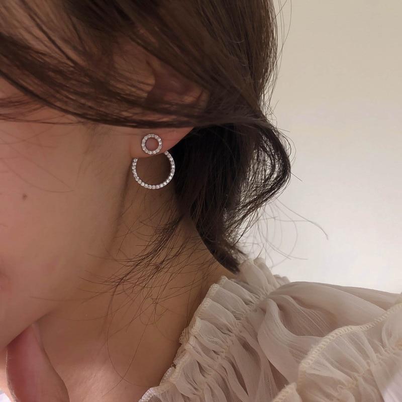 Orecchini a cerchio frontale e posteriore in zircone Micro pavimenta per donna 2020 nuovi orecchini delicati gioielli all'ingrosso