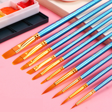 Buy 10Pcs/Set Watercolor Gouache Paint Brushes Round/Pointed/Flat/Oblique Tip Watercolor Painting Brush Set For Art Supplies directly from merchant!