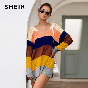 Image 5 - SHEIN çizgili bırak omuz uzun kazak kadın üstleri 2019 sonbahar Streetwear uzun kollu V boyun büyük boy bölünmüş kazak
