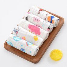 10 Pcs/Set Baby Muslin Washcloth with Printed Design Newborn Handkerchief Cotton Gauze Infant Face Towel