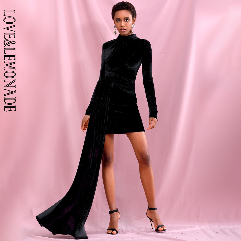LOVE&LEMONADE Sexy High Collar Black  Elastic Velvet Ribbons Bodycon Party Mini Dresses LM82285