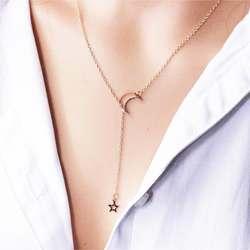 Новая мода Star Hollow луна кулон цепи ожерелья для Для женщин Регулируемая цепочка золотого цвета ожерелье вечерние украшения подарок NB319