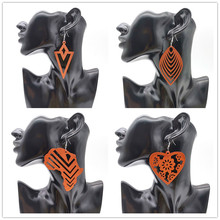 YD&YDBZ African Map Drop Dangle Earrings Wooden Leaves Pendant Earring Women Ear Jewelry Wood Jewelry Cute Girls Heart Drop Gift gold african dubai filled women s drop earring flower dangle earring charms jewelry earrings brincos vintage girls kids gift
