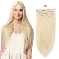 Настоящие красивые накладные волосы на клипсе, человеческие волосы 70 г, Бразильская машинная работа, 7 штук, шелковистые прямые человечески...