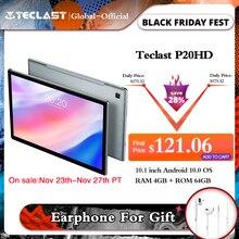 Teclast Tableta P20HD de 10,1 pulgadas, Octa core, A55, Android 10,0, 4GB de RAM, 64GB de ROM, 1920x1200, IPS, 2.5D, cuerpo de metal táctil, BDS + GPS, 6000mAh