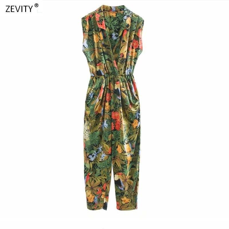 New 2020 Women Tropical Flower Leaves Print Siamese Rompers Ladies Sleevelss Jumpsuits Casual Elastic Waist Pocket Trousers P804