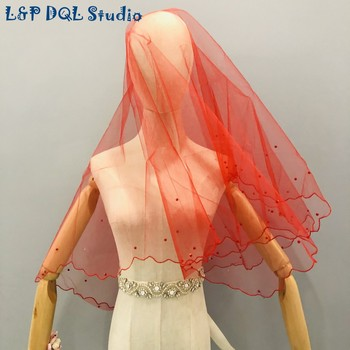L&P DQL Studio Real Pictures Red Wedding Veils Short Bridal Veils Free Shipping harbin slim line pocket transit h dql 2a dql 2a dql2a geological compass