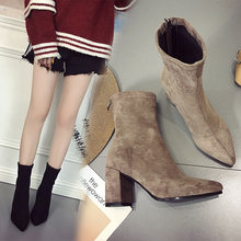 2020 Autumn Winter Ankle Boots Women Solid Suede Pumps Female Elegant Ladies Pointed Toe Botas Lace Up Square Heel Classic Shoes(China)