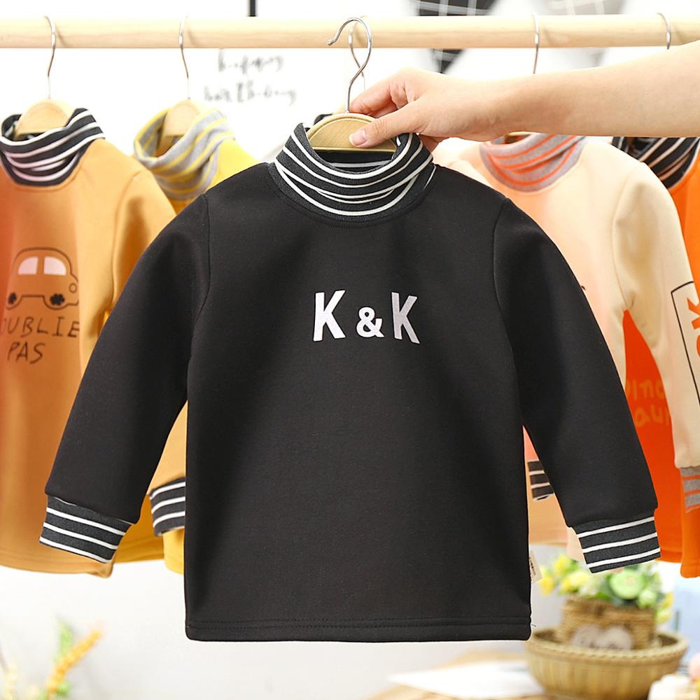 Autumn winter kids clothing cartoon print soft velvet boys girls