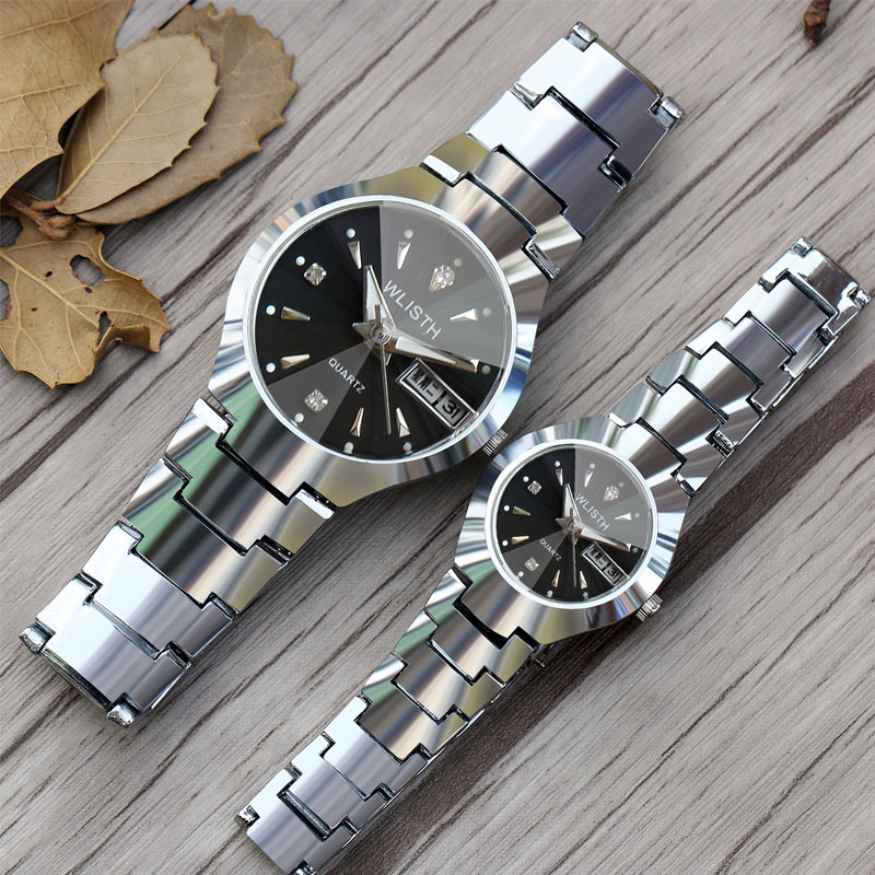 Wlisth men 39 s business suit couple watches luminous week calendar display waterproof steel belt alloy case quartz ladies watch in Lover 39 s Watches from Watches
