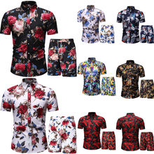 Hawaii Summer New Men's Polo Short Sleeve Casual Suit Outdoor Beach Slim Body Breathable Comfortable Polo Shirt + Shorts Suit
