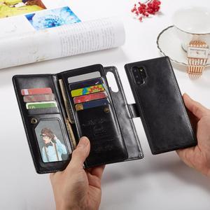 Image 4 - 2 en 1 Magnétique portefeuille en cuir synthétique polyuréthane étui pour samsung Galaxy Note 10 Plus 8 9 S10 Plus S10e S9 S8 Plus 9 Fentes Pour Cartes Flip Stand Sac