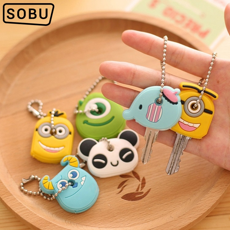 8PCS/Lot Cute Anime Cartoon Silicone Stitch Minion Key Cover Key Caps With Keychain Key Holder P012b