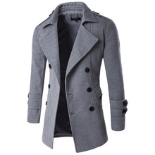 2019 New Style Korean-style Fashion Slim Fit Mid-length Trench Coat Men Solid Co