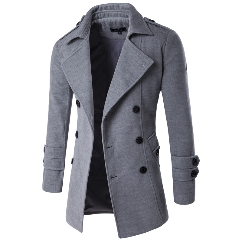 New Style Korean-style Fashion Slim Fit Mid-length Trench Coat Men Solid Color Double Breasted Suit Collar Trench Coat