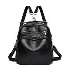 Women PU Leather Backpack Female Casual Shoulders Bag School Double Zipper Girls Travel Bags Soft Laptop