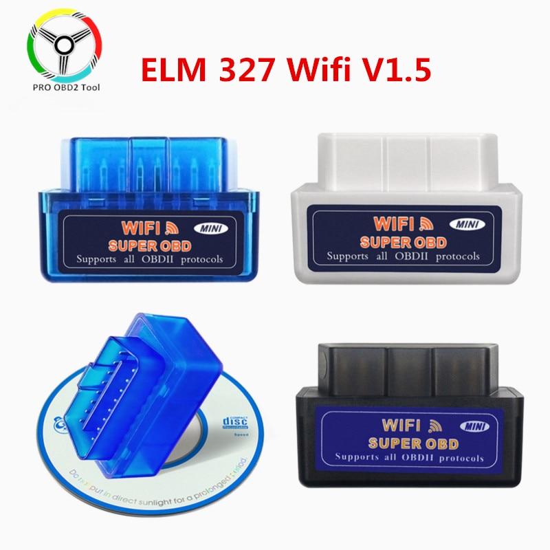 Диагностический сканер OBDII, супер мини-сканер ELM 327 V1.5 WiFi OBD2 ELM327 V 1 5 Wi-Fi для Android/Ios/Windows/ПК