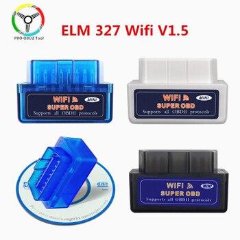 New Super Mini ELM 327 V1.5 WiFi OBD2 ELM327 V 1 5 WI-FI OBDII Diagnostic Tool for Android/Ios/Windows/PC obd Scanner - discount item  9% OFF Car Repair Tool