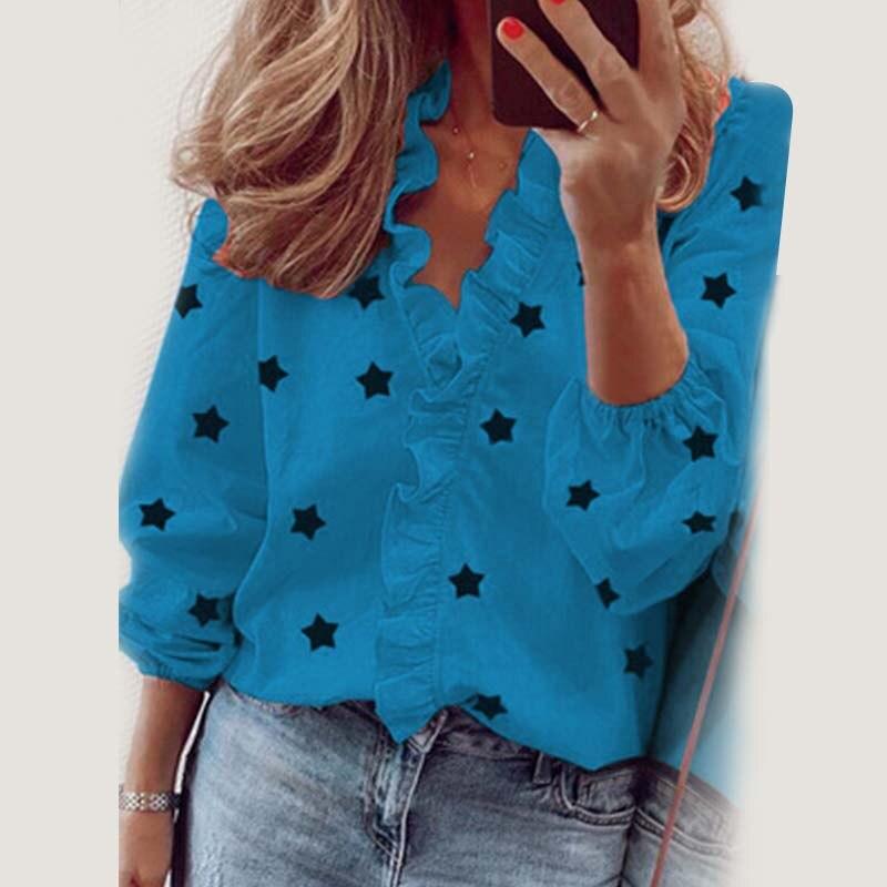 Star Printed Long Sleeve Ruffles Blouse Shirt 2020 New Fashion Female Clothing Casual Elegant White Blue Tops Plus Size S-3XL 7