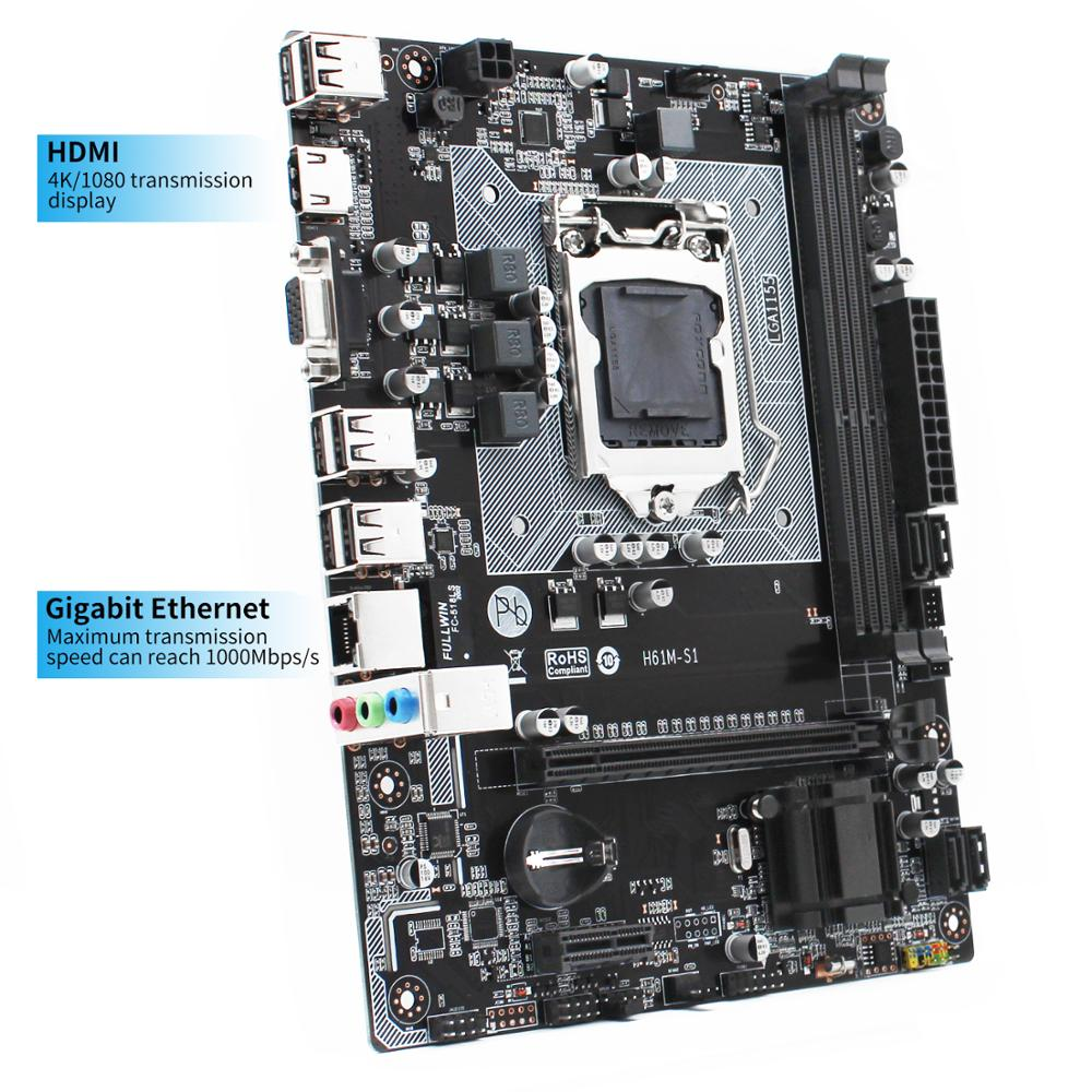 New H61M-S1 h61 motherboard LGA 1155 H61chipset socket Micro-ATX supports DDR3 Dual Channel Intel i3 i5 i7 Core Pentium H61M-S1 2