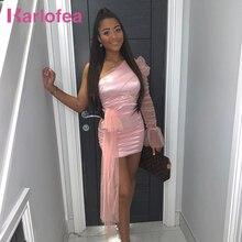 Karlofea Della Signora Elegante Festa di Nozze Abiti Dolce Della Maglia Increspato Slim Mini Wrap Dress Chic Del Manicotto di Soffio vestito di Un Spalla del Vestito di Compleanno