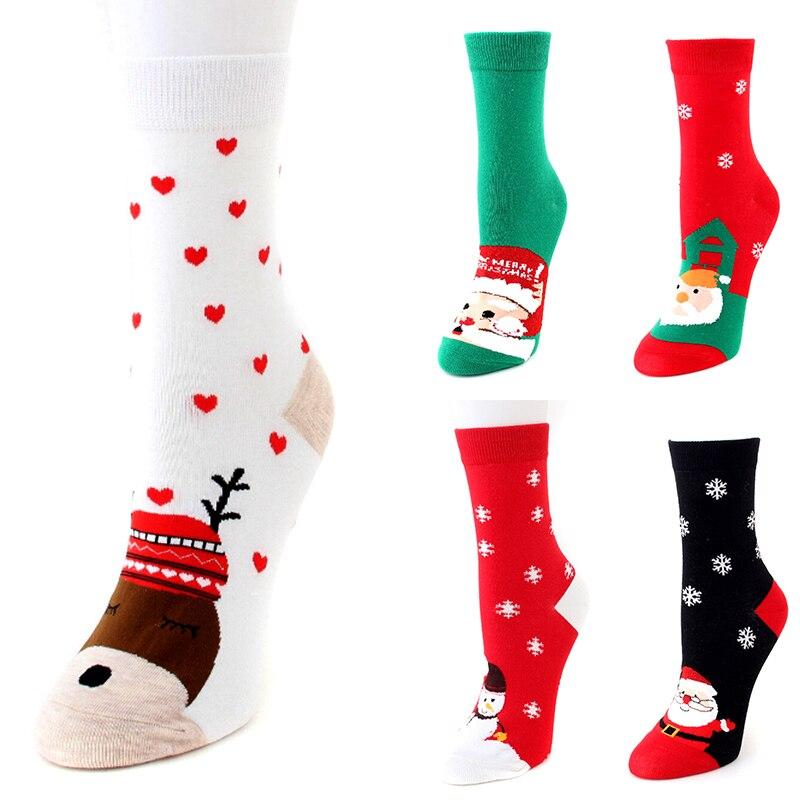 Autumn Winter Women New Year Santa Claus Christmas Snow Elk Gift Cute Cartoon Thickness Socks Long Cotton Socks