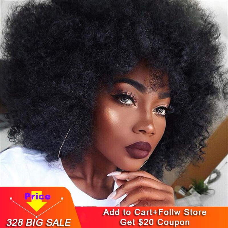 Eseewigs Spiral Afro Kinky Curly Lace Front Wigs 180% Mongolian Remy Human Hair Glueless Lace Front Wigs Black Women 4a 4b Curl