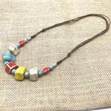 Fashion jewelry handmade Ceramic beads Rope Chain Choker Necklace High Quality Bohemia Personality Ethnic Gift For Women