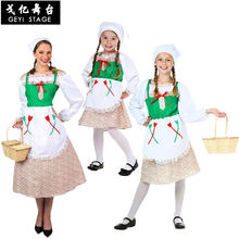 Halloween Parent-enfant scène Performance Costume COS allemand fille monde National Costume de femme de chambre(China)
