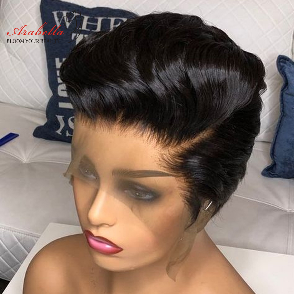 13x4 Pixie Cut Bob Wig Straight  Hair Lace Front Wig With Baby Hair Arabella Pre Plucked Lace Front Bob Wig 2
