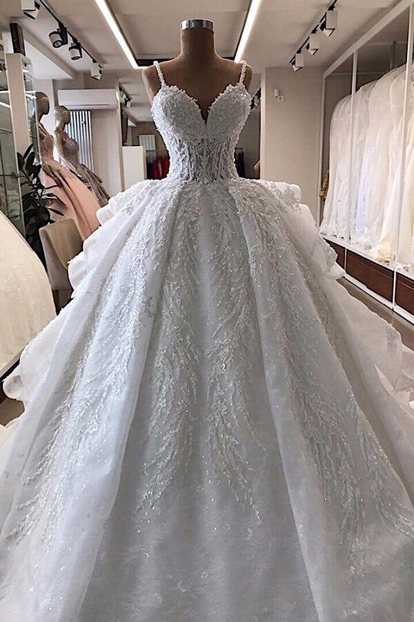Robe De Mariee Long Wedding Dresses Lace Beads Wedding Dresses Vestidos De Novia 100% Same As The Photos Custom Wedding Dresses