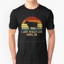Я только что очень нравится коров Ok забавные Винтаж корова подарок футболка 100% натуральный хлопок я просто очень нравится коров Ok животные ...