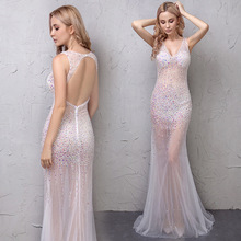 Fashion Sexy Deep V-neck Dresses Charming Perspective Mermaid Evening Dress Adult Party Nightclub Beaded Long 2019